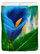 Alone In Blue- Calla Lily Paintings Duvet Cover