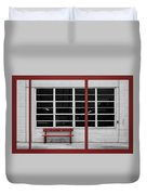 Alone - Red Bench - Windows Duvet Cover
