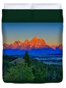 Alpenglow Across The Valley Duvet Cover