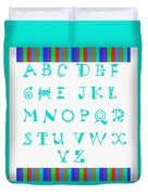 Alphabet Blue Duvet Cover