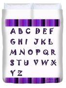 Alphabet With Purple Stripes Duvet Cover