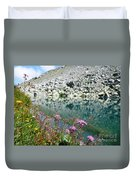 Alpine Lake And Flora Duvet Cover