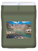 Alpine Lake Beneath Sunlight Peak Duvet Cover