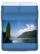 Alpine Lake With A Cypress Tree Duvet Cover