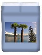 Alpine Lake With Island Duvet Cover