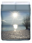 Alpine Lake With Snow Duvet Cover