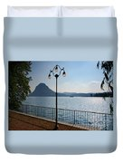 Alpine Lake With Street Lamp Duvet Cover