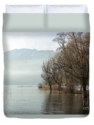 Alpine Lake With Trees Duvet Cover