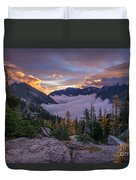 Alpine Lakes Morning Cloudscape Duvet Cover