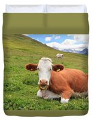 Alpine Pasture With Cow Duvet Cover