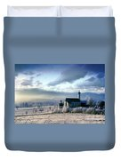 Alpine Scenery With Church In The Frosty Morning Duvet Cover
