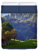 Alpine Summer Scene In Switzerland Duvet Cover