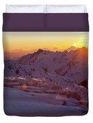 Alpine Sunset On High Alpine Glacier Duvet Cover