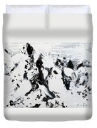 Alps In Black And White Duvet Cover