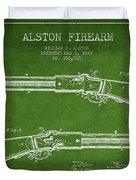 Alston Firearm Patent Drawing From 1887- Green Duvet Cover