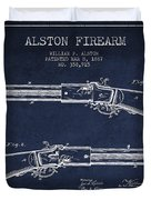 Alston Firearm Patent Drawing From 1887- Navy Blue Duvet Cover