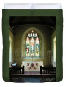 Altar And Stained Glass Window Nether Wallop Duvet Cover
