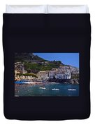 Amalfi Beach And Town Duvet Cover