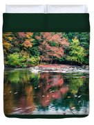 Amazing Fall Foliage Along A River In New England Duvet Cover