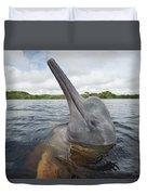 Amazon River Dolphin Spy-hopping Rio Duvet Cover