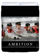 Ambition Inspirational Quote Duvet Cover
