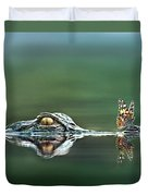 American Alligator And Butterfly Duvet Cover