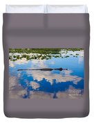 American Alligator Swimming Through The Clouds Duvet Cover
