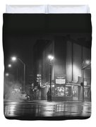 American Coney In Detroit Black And White Duvet Cover
