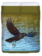 American Crow Flying Over Water Duvet Cover