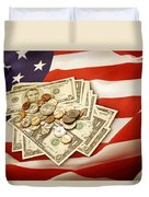 American Currency  Duvet Cover by Les Cunliffe