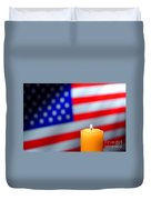 American Flag And Candle Duvet Cover
