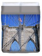 American Flag Flying Over Brooklyn Duvet Cover