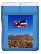 American Flag In Monument Valley Duvet Cover