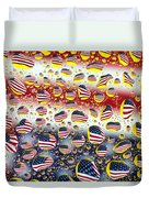 American Flag In Water Drops Duvet Cover