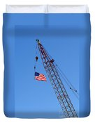 American Flag On Construction Crane Duvet Cover