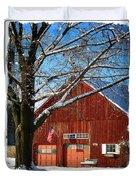 American Flag Red Barn Duvet Cover