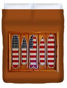 American Flag Surfboards Original Painting By Mark Lemmon Duvet Cover