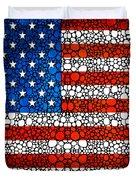 American Flag - Usa Stone Rock'd Art United States Of America Duvet Cover