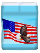 American Flag With Bald Eagle Duvet Cover