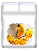 American Goldfinch Branch Of Forsythia Duvet Cover