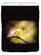 American Goldfinch Gazes Upward  - Series II  Digital Paint With Verse Duvet Cover