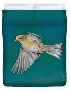 American Goldfinch Hen In Flight Duvet Cover