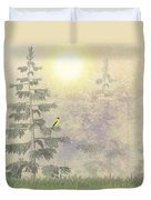 American Goldfinch Morning Mist  Duvet Cover by David Dehner