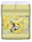 American Goldfinch On A Cedar Twig With Digital Paint And Verse Duvet Cover