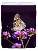 American Painted Lady Butterfly Purple Background Duvet Cover