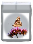 American Painted Lady Butterfly White Square Duvet Cover