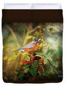 American Robin - Harbinger Of Spring Duvet Cover