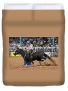 American Rodeo Female Barrel Racer Dark Horse I Duvet Cover by Sally Rockefeller