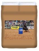 American Rodeo Female Barrel Racer White Star Horse I Duvet Cover by Sally Rockefeller