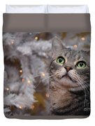 American Shorthair Cat With Holiday Tree Duvet Cover